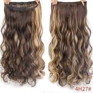 """24"""" BROWN W/BLONDE HIGHLIGHTS CLIP IN EXTENSIONS"""
